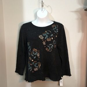 Black Heather Floral Embroidered Sweater
